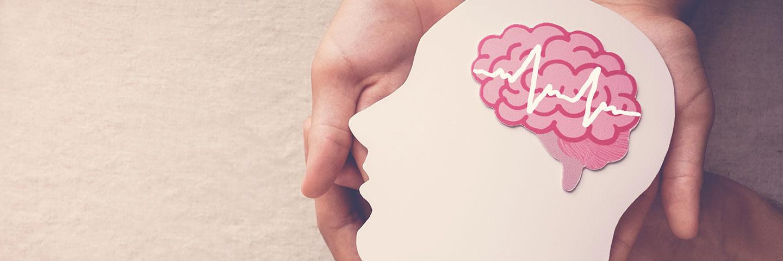 Hände halten eine aus beiger Pappe ausgeschnittene Silhouette eines Kopfes. Darauf liegt eine aus rosa Papier ausgeschnittene stilisierte Darstellung eines Gehirns.