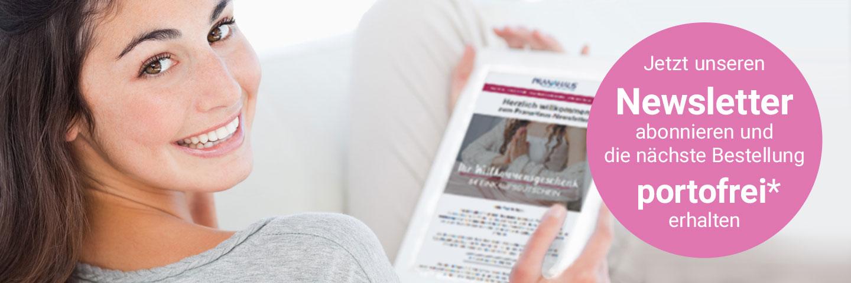 """Frau liest PranaHaus-Newsletter auf einem Tablet. Text: """"Jetzt unseren Newsletter abonnieren und die nächste Bestellung  portofrei* erhalten"""""""
