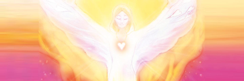 Bild eines weißen Engels mit freundlichem Gesicht vor gelb-orange-pinkem Hintergrund, kreiert von der Künstlerin Janina Restel