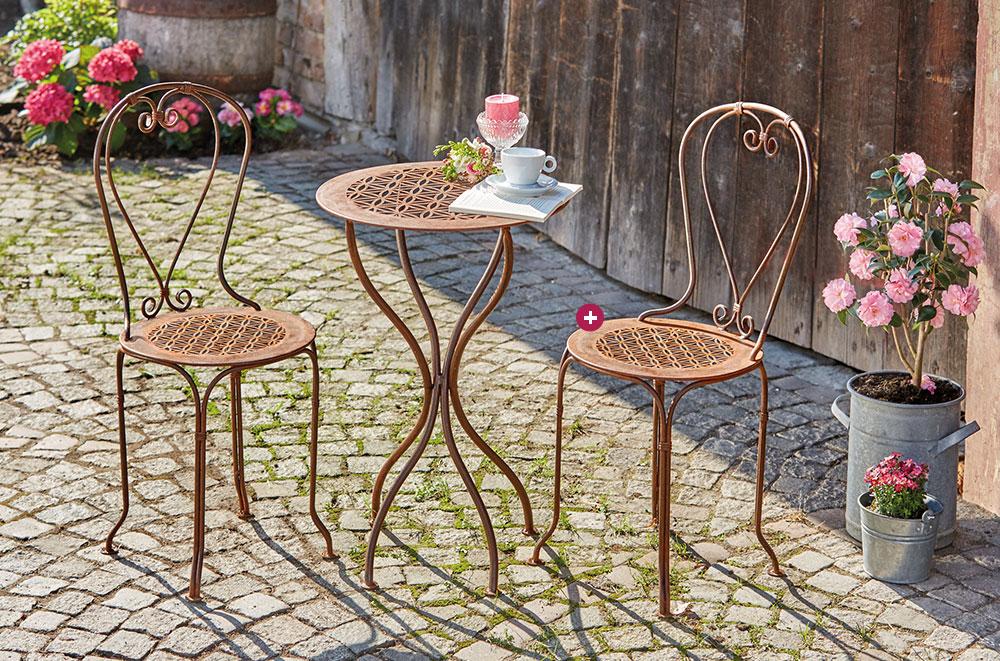 """Produkte: Edelrost-Gartentisch """"Blume des Lebens"""" mit zwei passenden Stühlen"""